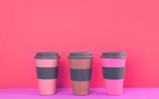 pink cups on pink background